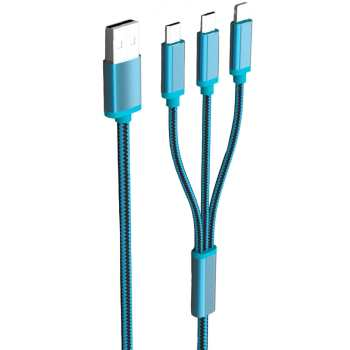 کابل تبدیل USB به microUSB/لایتنینگ الدینیو مدل LC85 3 In 1 طول 1.2 متر