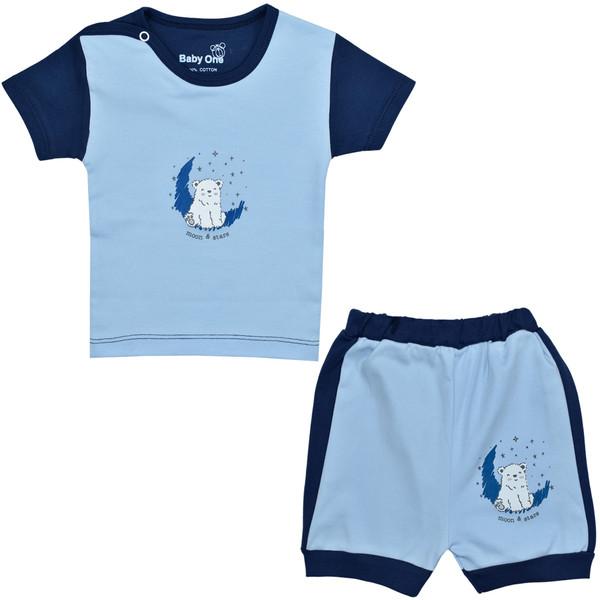 ست تی شرت و شلوارک نوزادی بی بی وان مدل خرس قطبی