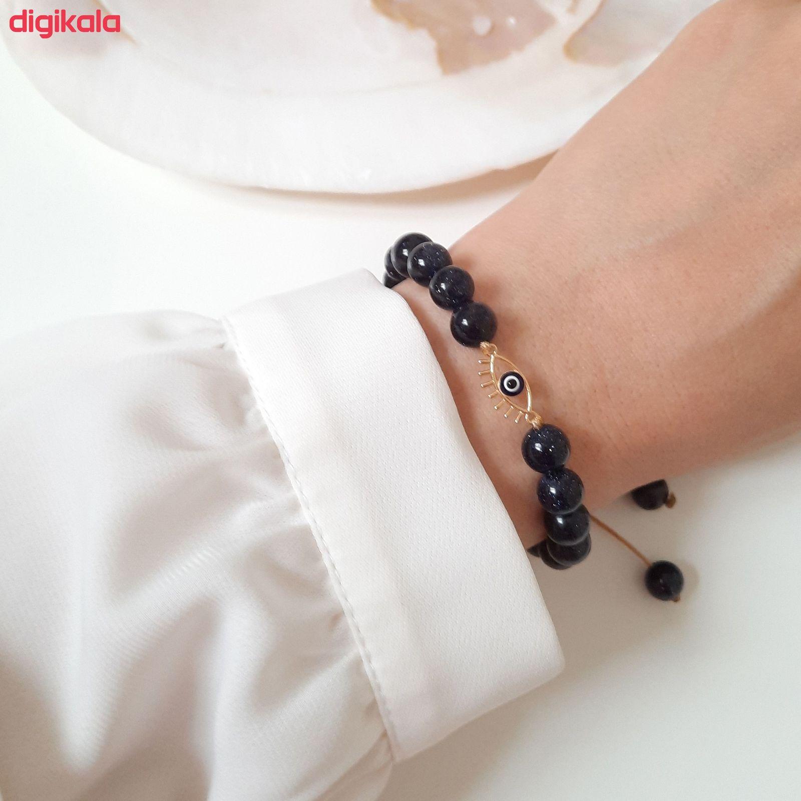 دستبند طلا 18 عیار زنانه الماسین آذر طرح چشم نظر کد CH03 -  - 6