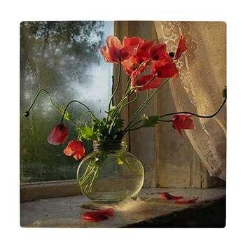 کاشی کارنیلا طرح گل های شقایق در گلدان شیشه ای کد wkk962