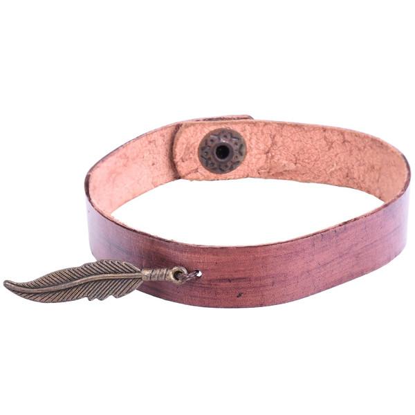 دستبند چرمی گالری پوریاچرم طرح پَر مدل 01-10 سایز L