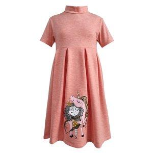 پیراهن دخترانه افراتین مدل اسب شاخ دار رنگ گلبهی