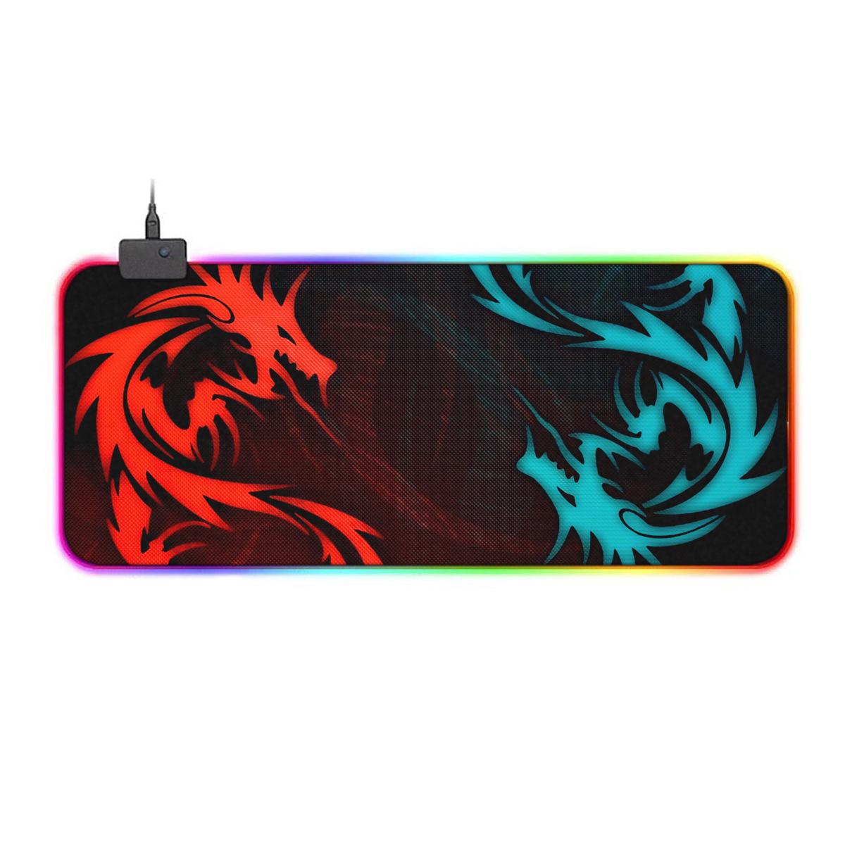 بررسی و {خرید با تخفیف} ماوس پد مخصوص بازی مدل GMS-WT-5 RGB طرح اژدها اصل