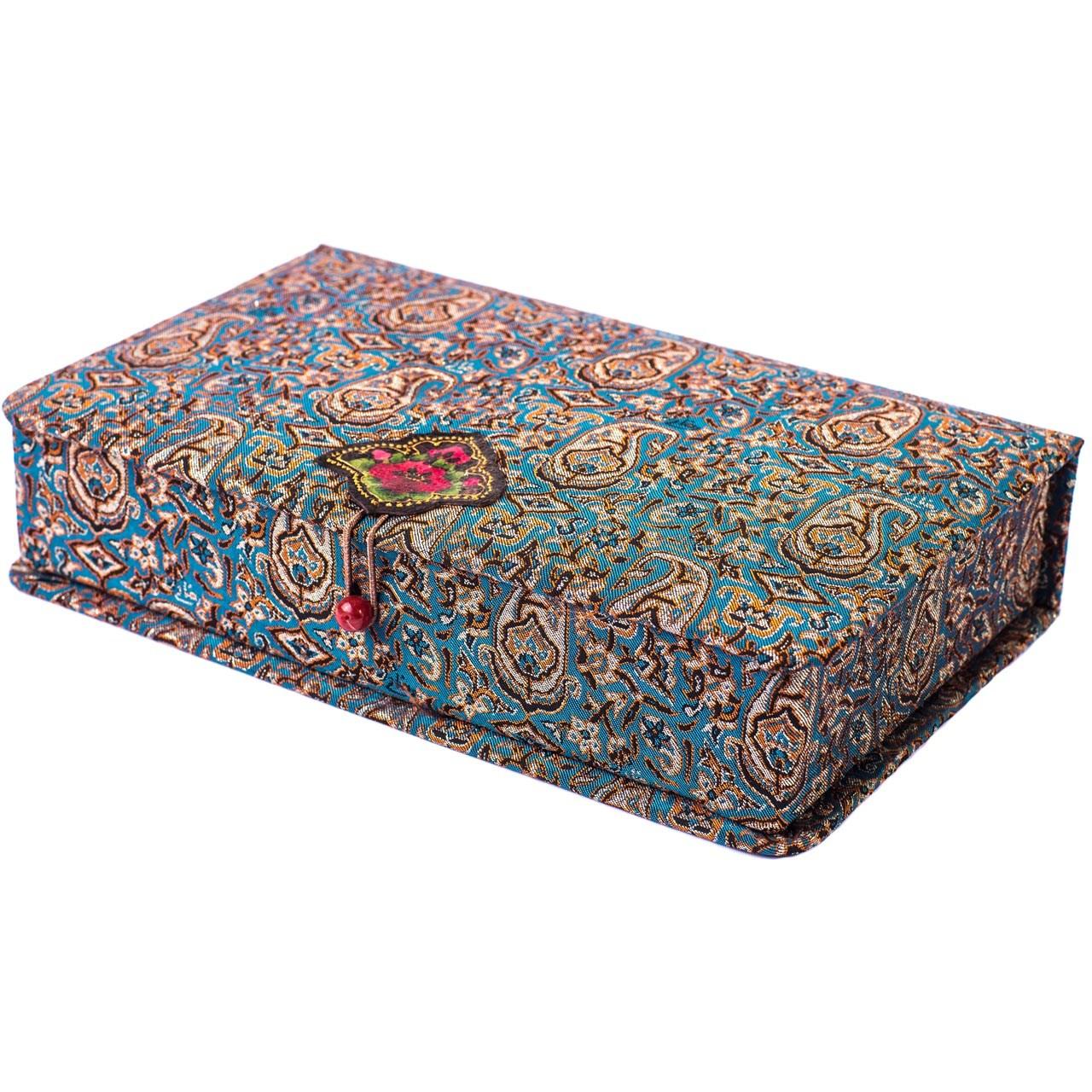 جعبه کارد و چنگال ترمه سنا مدل لوکس طرح یاس فیروزه ای