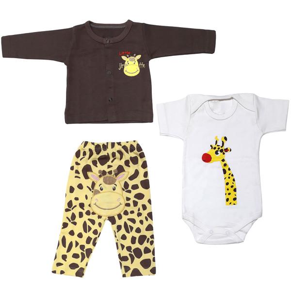 ست 3 تکه لباس نوزادی پسرانه طرح زرافه کد 3050