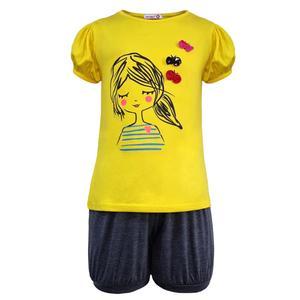 ست تی شرت و شلوارک دخترانه افراتین مدل دختر و پروانه رنگ زرد