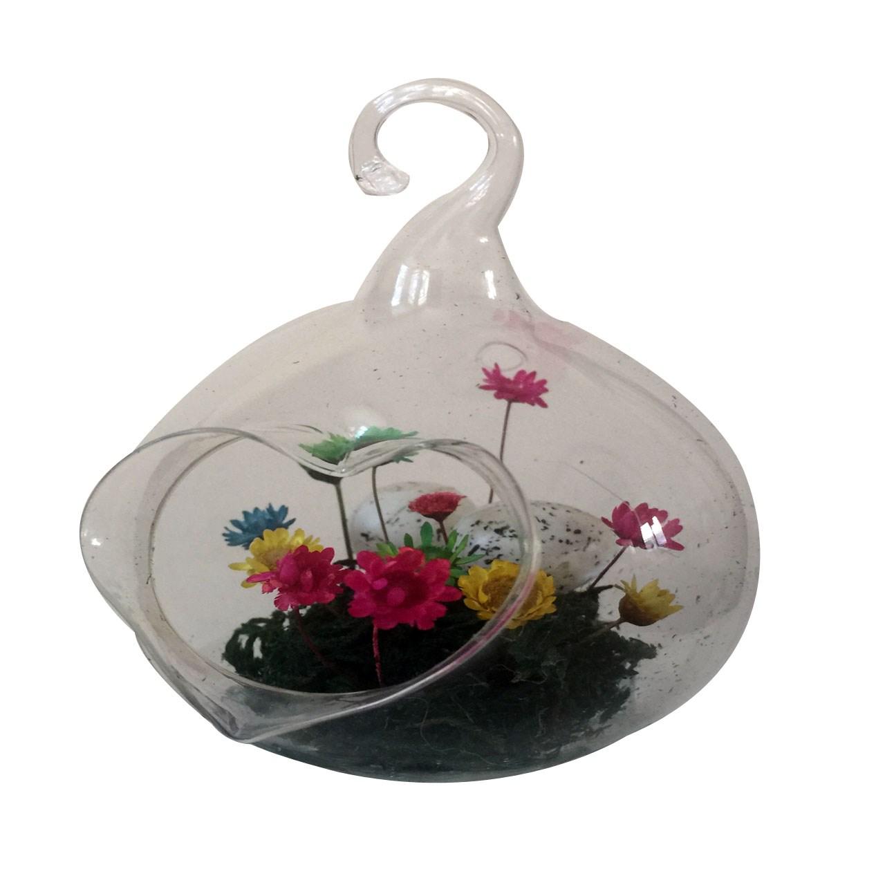 گل ماندگار به همراه گلدان شیشه ای عرش مدل B-110