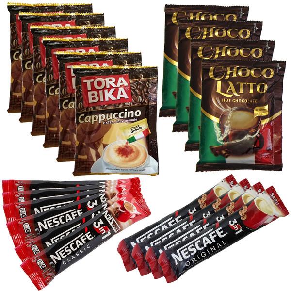 کاپوچینو ترابیکا بسته 6 عددی و هات چاکلت چوکولاتو بسته 4 عددی و قهوه فوری نسکافه بسته 10 عددی