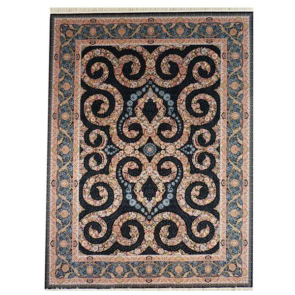 فرش ماشینی لیلی طرح مستانه کد 5009 زمینه سرمه ای