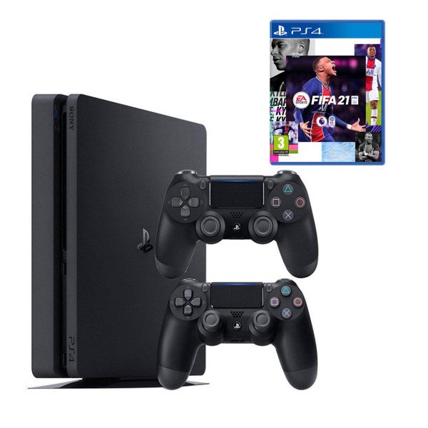 مجموعه کنسول بازی سونی مدل Playstation 4 Slim CUH-2216B ظرفیت 1 ترابایت به همراه دسته اضافه و فیفا21