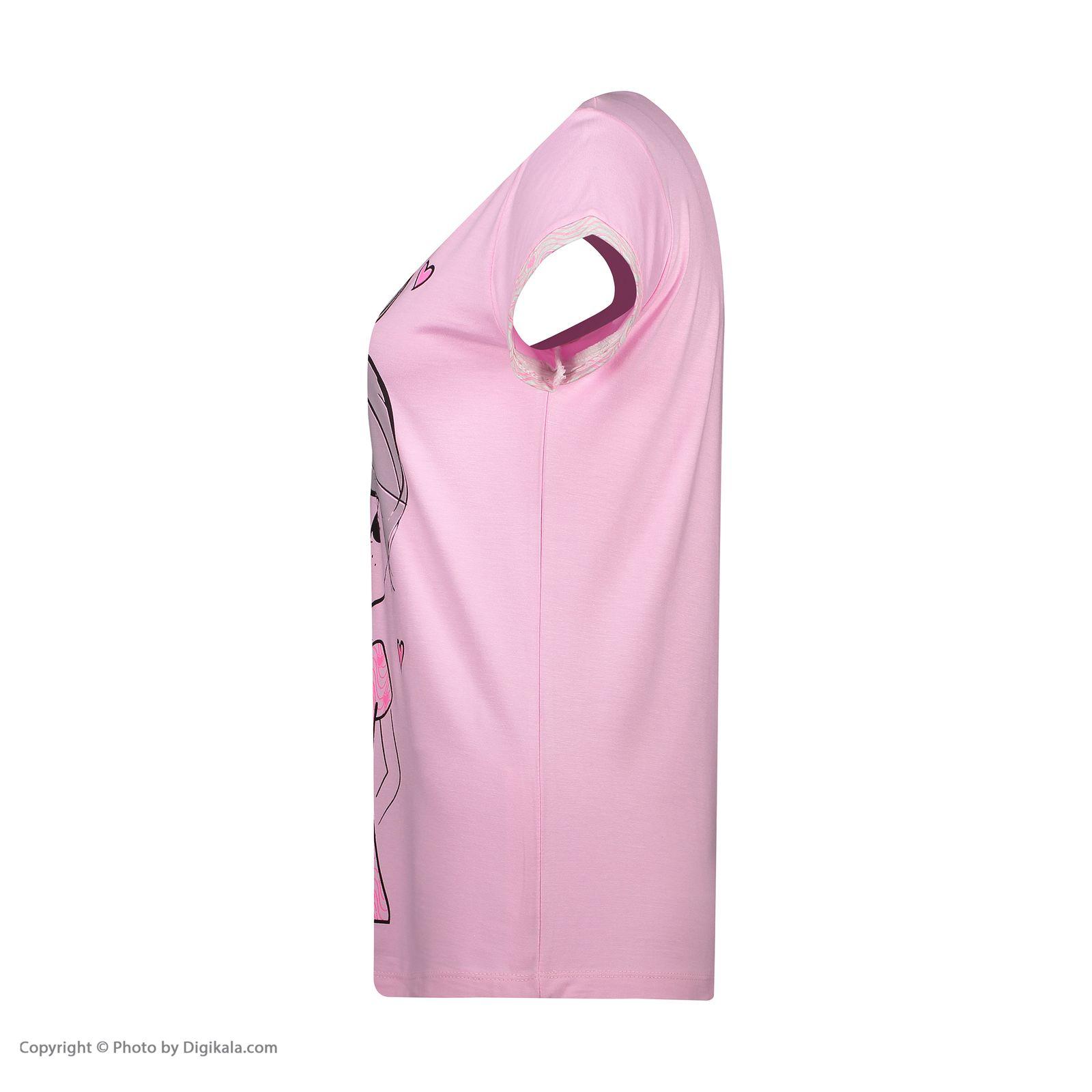 ست تی شرت و شلوار زنانه فمیلی ور طرح دختر کد 0222 رنگ صورتی -  - 9