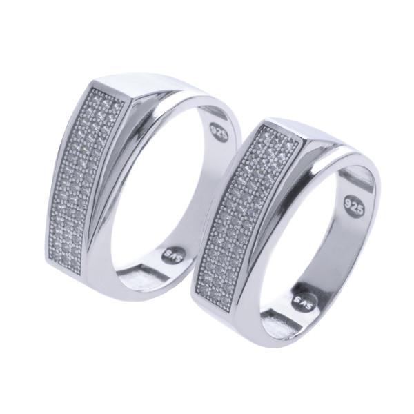 ست انگشتر نقره زنانه و مردانه مدل HS1007
