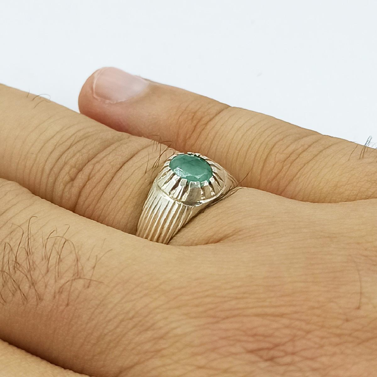 انگشتر نقره مردانه سلین کالا مدل زمرد ce-As188