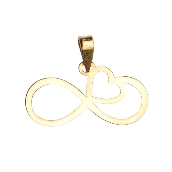 آویز گردنبند طلا 18 عیار زنانه کرابو طرح قلب بینهایت مدل Kr3032