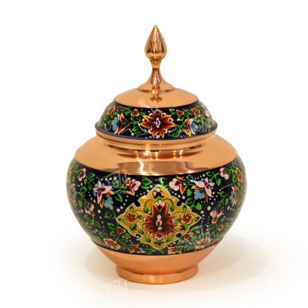شکلات خوری سیبی مس و پرداز رنگ سورمه ای  طرح گل شاه عباسی  مدل 1001200049