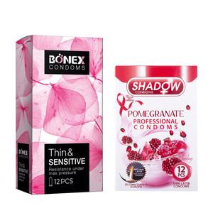 کاندوم بونکس مدل Safe & Resistant بسته 12 عددی به همراه کاندوم شادو مدل Pomegranate بسته 12 عددی