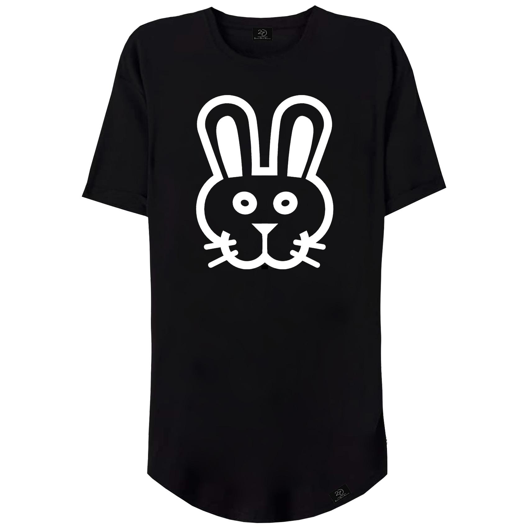 تیشرت زنانه 27 طرح خرگوش کد V03 رنگ مشکی