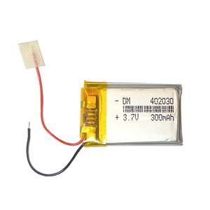 باتری لیتیوم پلیمر مدل 402030DM ظرفیت 300 میلی آمپر ساعت