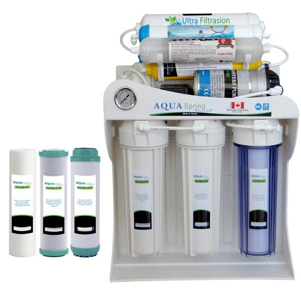 دستگاه  تصفیه کننده آب آکوآ اسپرینگ  مدل UF - SF3600 به همراه فیلتر تصفیه کننده آب مجموعه 3 عددی