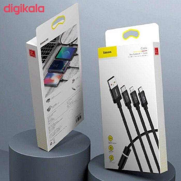 کابل تبدیل USB به USB-C / لایتنینگ / microUSB باسئوس مدل CAMLT-PY01 طول 1.2 متر main 1 7