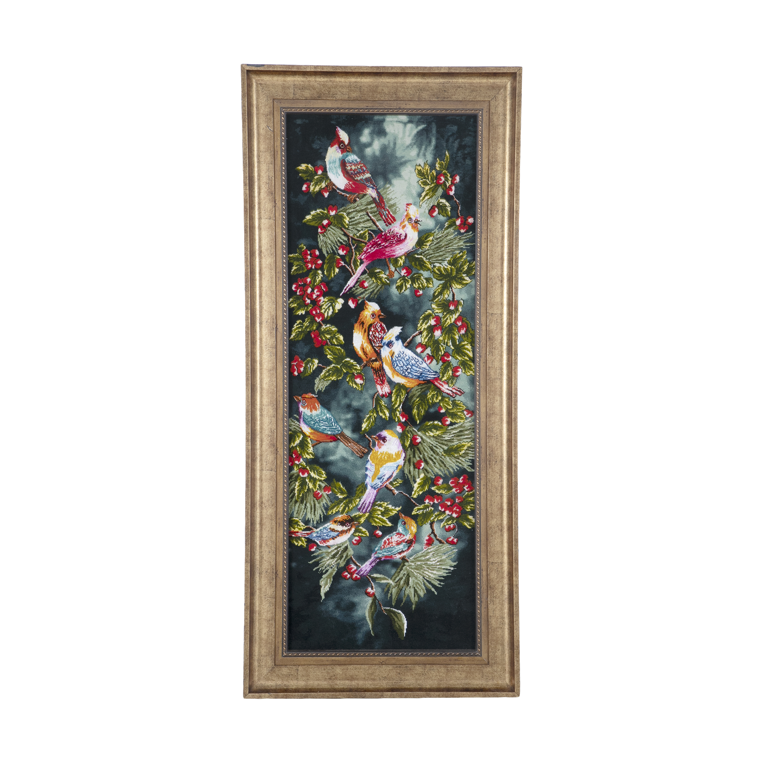 Handmade Persian bird carpet tableau, A10 Model