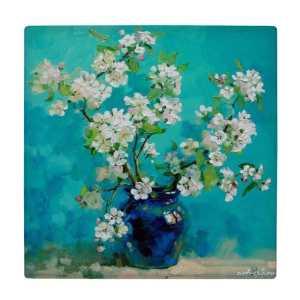کاشی طرح نقاشی گلدان سفالی و گل کد wk12048