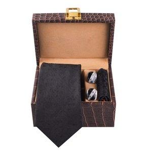 ست کراوات ، دستمال جیب و دکمه سردست مردانه مدل GF-PO1253-BK-BOX