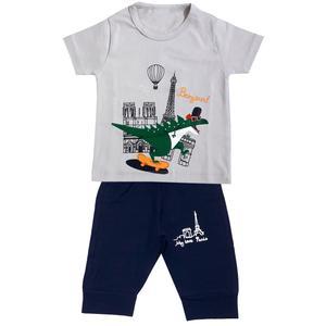 ست تی شرت و شلوارک پسرانه مدل دایناسور کد 3331 رنگ طوسی