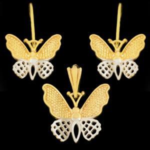 نیم ست طلا 18 عیار دخترانهطلای مستجابی مدل پروانه کد 67126
