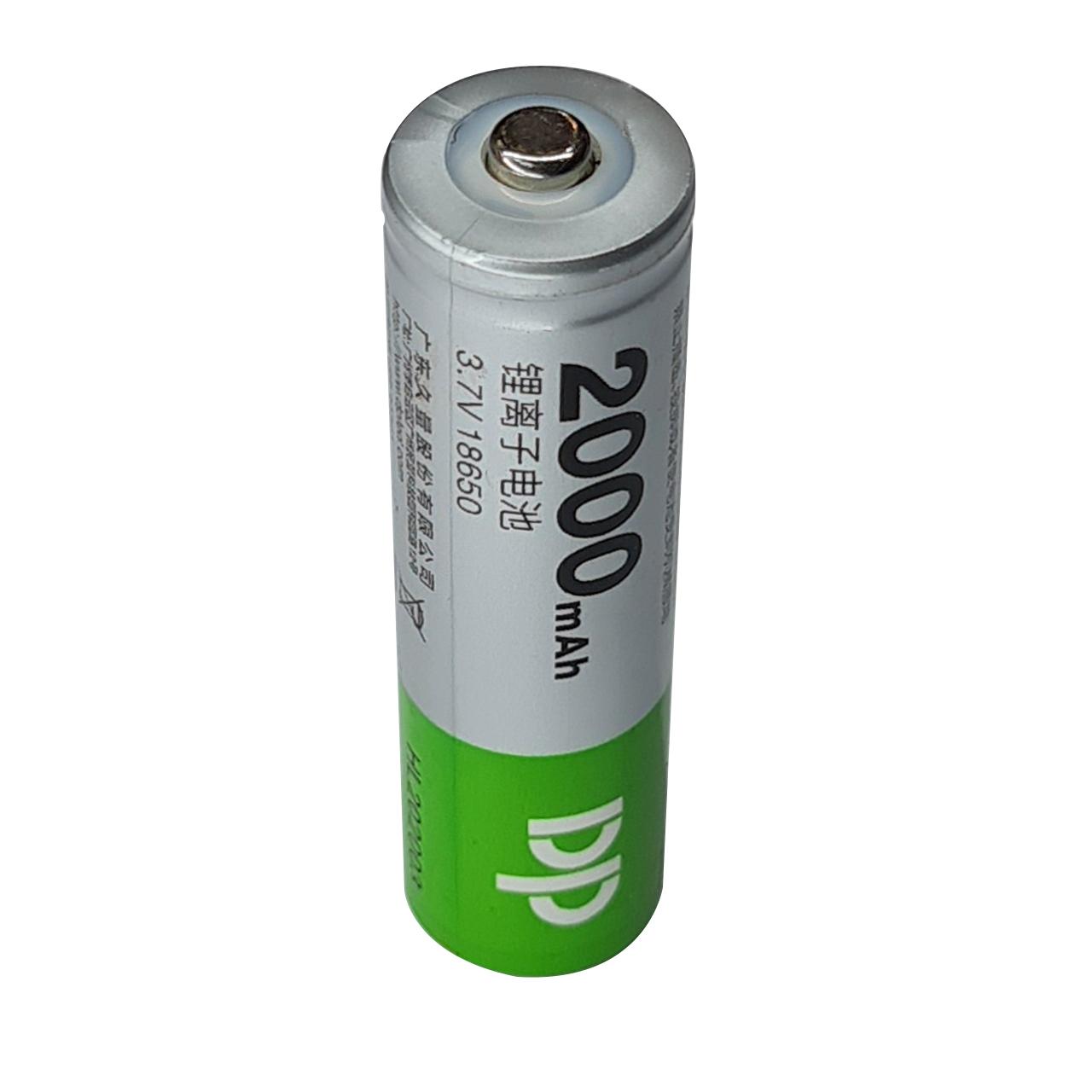 بررسی و {خرید با تخفیف} باتری لیتیوم یون قابل شارژ دی پی کد 18650 ظرفیت 2000 میلی آمپرساعت اصل