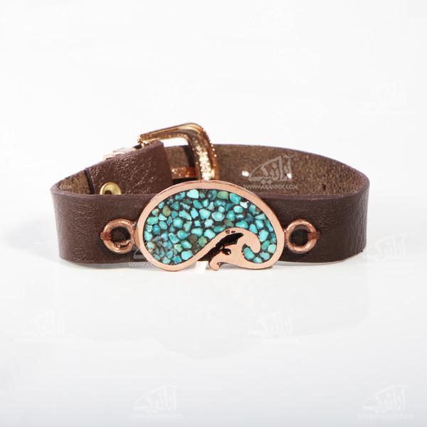 دستبند فیروزه کوب مسی آرانیک طرح بته جقه مدل 1511600014