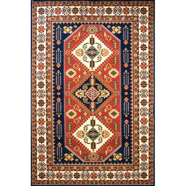 فرش ماشینی ساوین طرح آنیتا زمینه سورمه ای