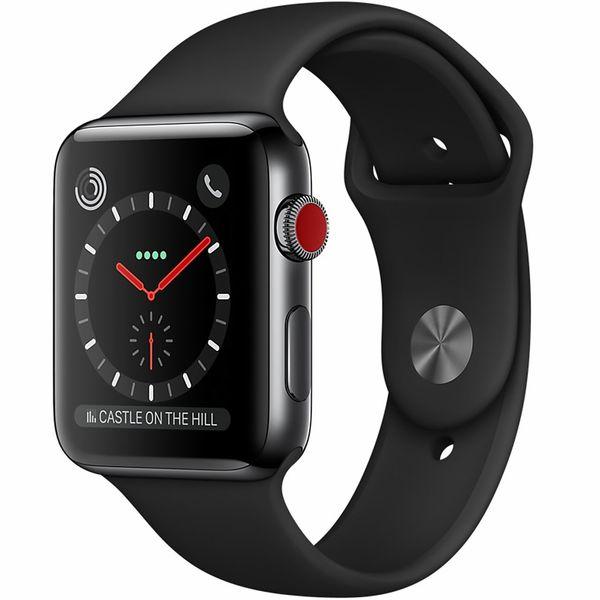 518863a52 ساعت هوشمند اپل واچ سری 3 سلولار مدل 42mm Space Black Stainless Steel Case  with Black