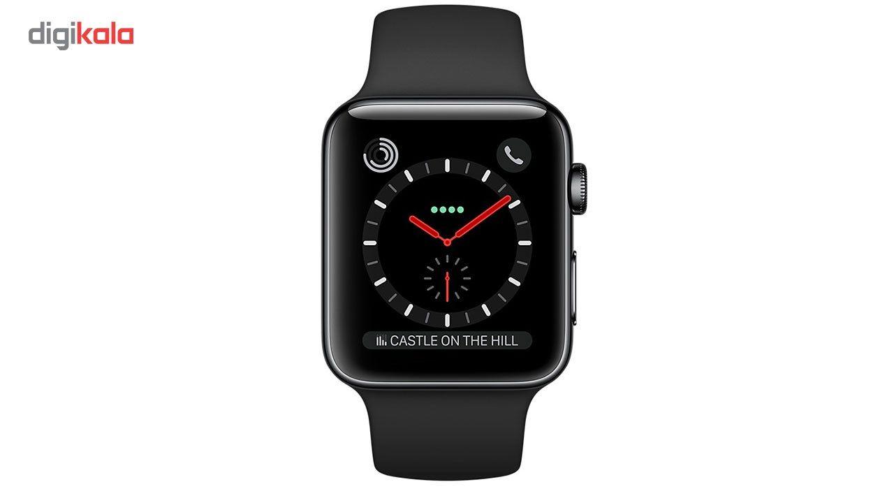 e0d0d3499 مشخصات، قیمت و خرید ساعت هوشمند اپل واچ سری 3 سلولار مدل 42mm Space Black  Stainless Steel Case with Black Sport Band   دیجیکالا