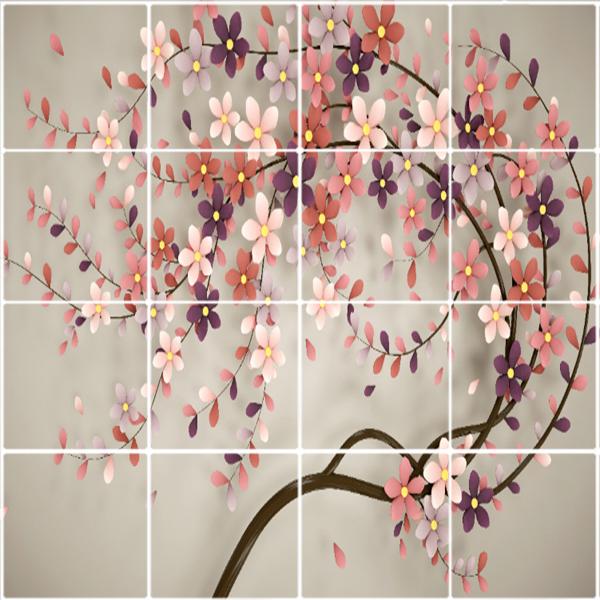تایل سقفی  آسمان مجازی طرح درخت شکوفه کد 3D1769-16 سایز 60x60 سانتی متر مجموعه 16عددی