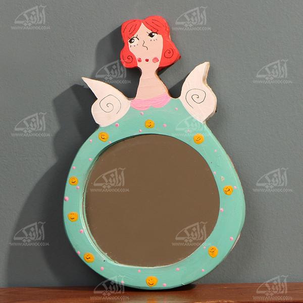 آینه چوبی رنگ آمیزی  رنگ سبز طرح فرشته مدل 1509700004