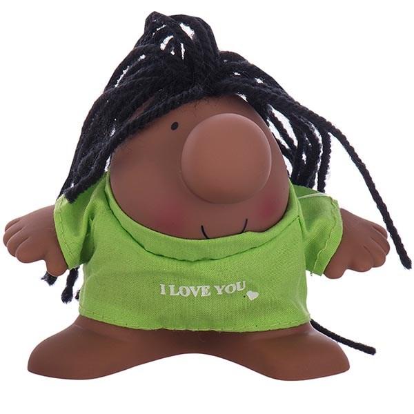 عروسک پالیز مدل مستر دماغ با موی آفریقایی و لباس I Love You سایز خیلی کوچک