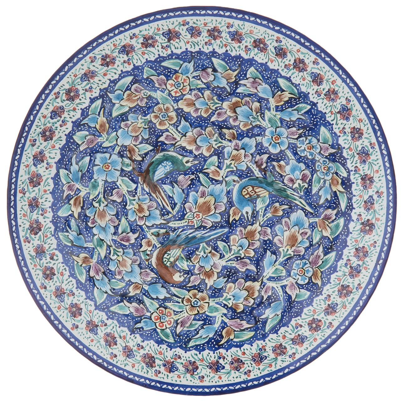 بشقاب مسی میناکاری شده اثر اسماعیلی طرح گل و مرغ برجسته قطر 20 سانتی متر