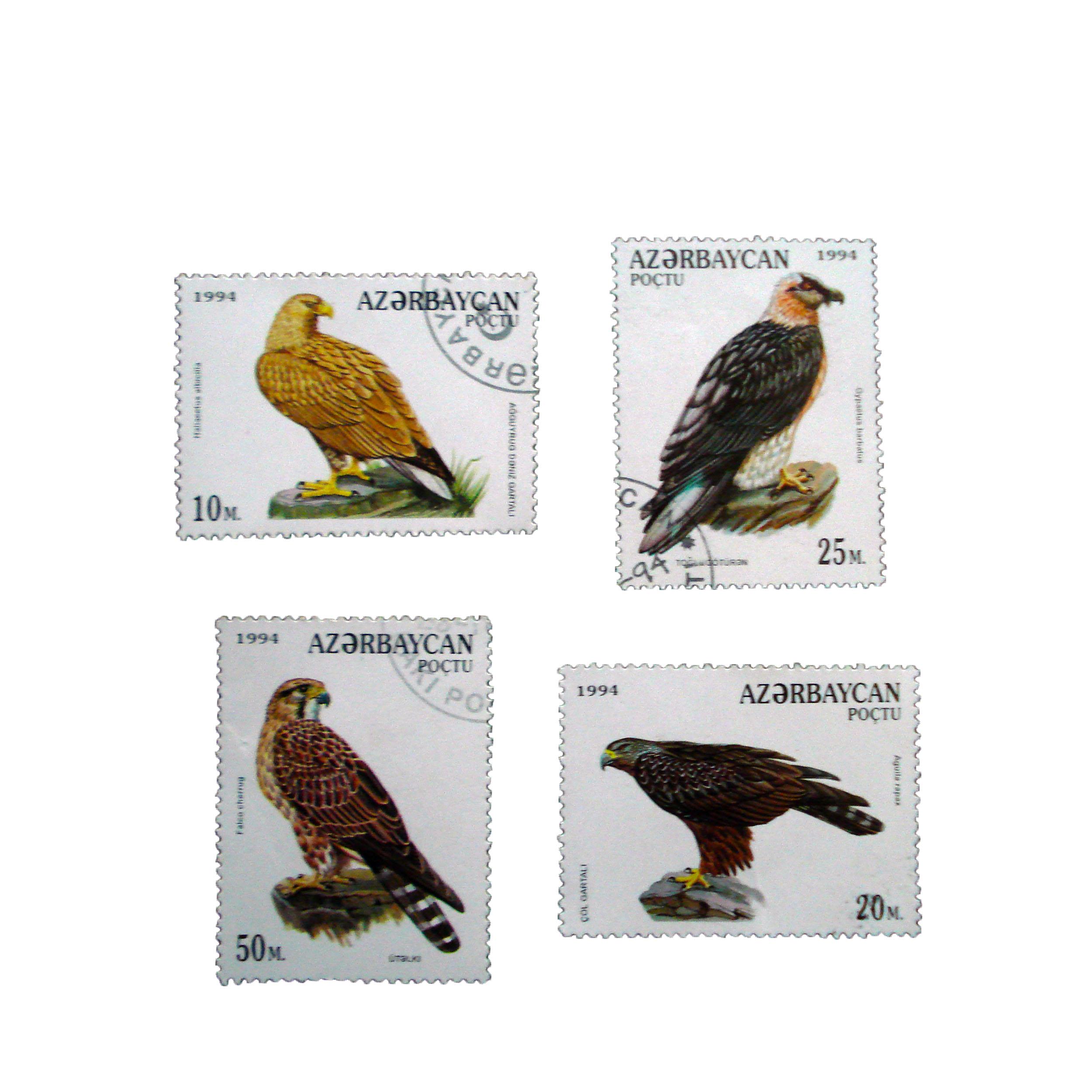 تمبر یادگاری مدل پرندگان کد c-954 مجموعه 4 عددی