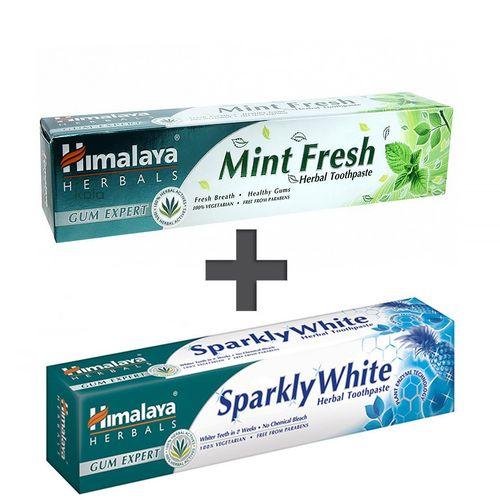 ست خمیر دندان گیاهی هیمالیا مدل Mint Fresh و Sparkly White حجم 75 میلی لیتر