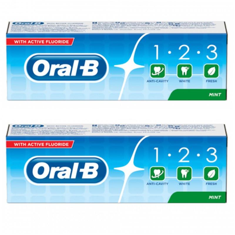 خمیر دندان اورال- بی مدل 1.2.3 حجم 100 میلی لیتر بسته 2 عددی