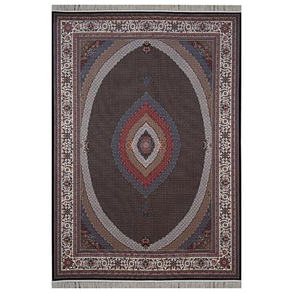 فرش ماشینی فرش هدیه طرح ریز ماهی زمینه سورمه ای