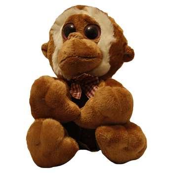 عروسک طرح میمون چشم تیله ای مدل 1 ارتفاع 20 سانتی متر