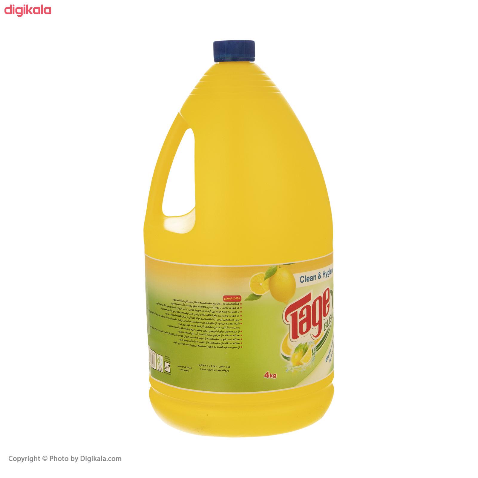 مایع سفید کننده تاژ با رایحه لیمو مقدار 4000 گرم main 1 2