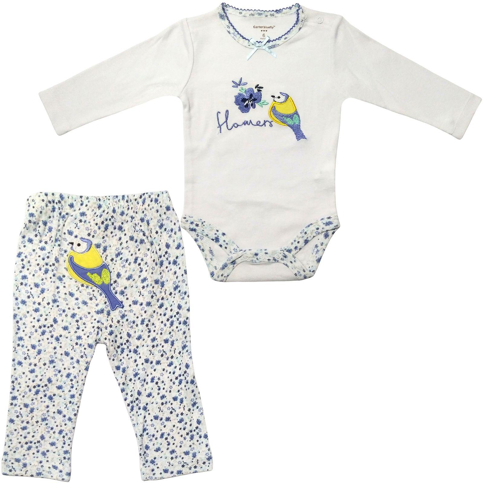 ست بادی و شلوار نوزادی دخترانه طرح پرنده کد M360 -  - 3