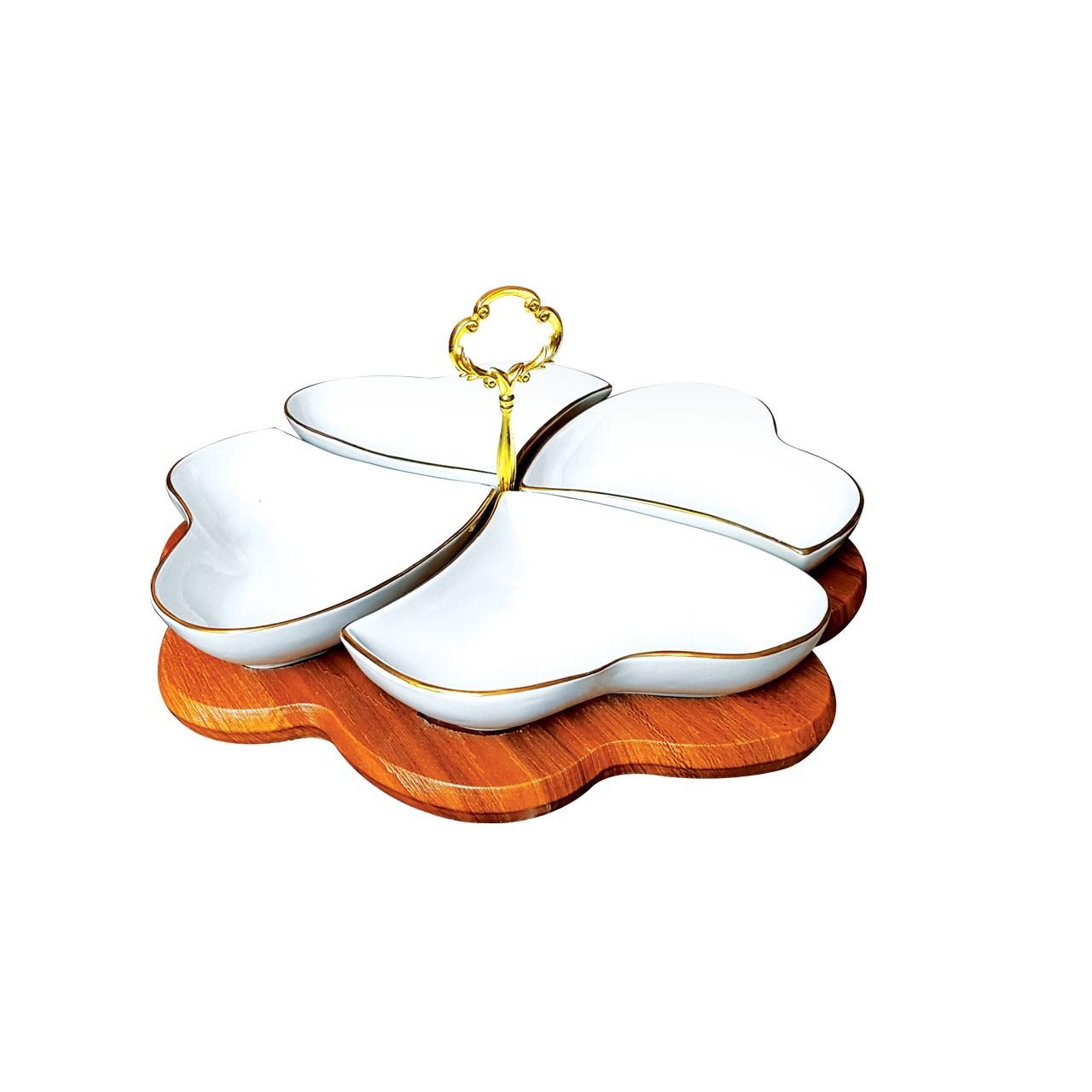 اردو خوری لیمون چینی پایه چوبی مدل قلب خط طلا