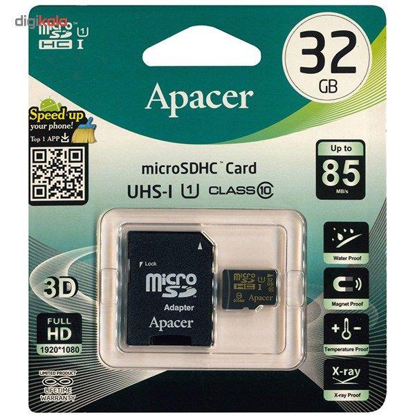 کارت حافظه microSDHC اپیسر کلاس 10 استاندارد UHS-I U1 سرعت 85MBps همراه با آداپتور SD ظرفیت 32 گیگابایت main 1 1