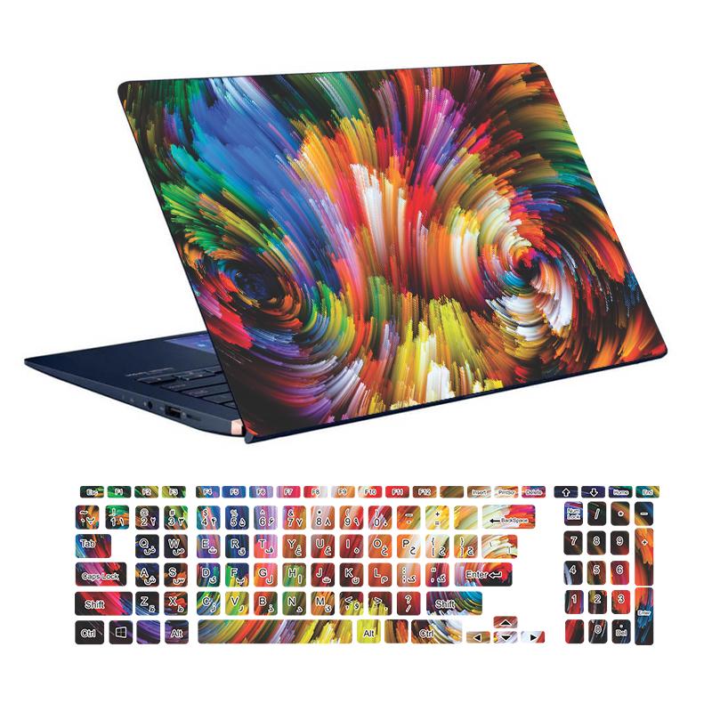 استیکر لپ تاپ توییجین و موییجین طرح Clorful  کد 47 مناسب برای لپ تاپ 15.6 اینچ به همراه برچسب حروف فارسی کیبورد