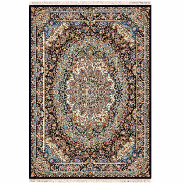 فرش ماشینی فرش توس مشهد طرح پازیریک زمینه سرمه ای