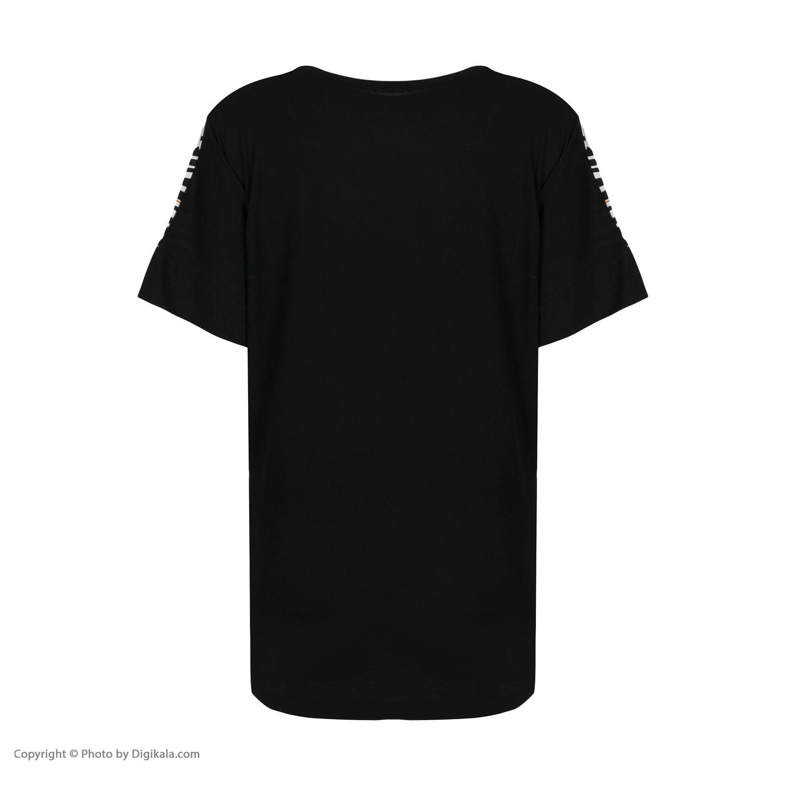 تی شرت آستین کوتاه زنانه فمیلی ور طرح پلنگی کد 172 رنگ مشکی -  - 4